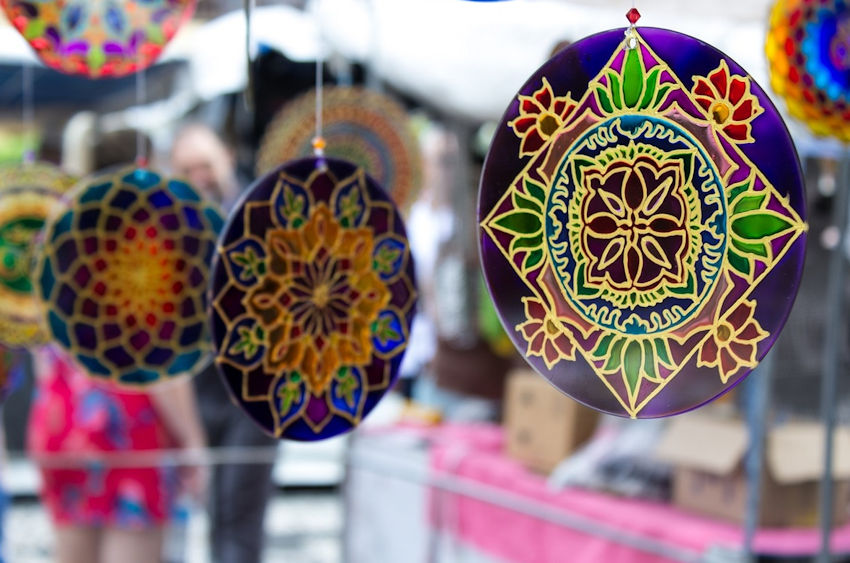 Painted Glass Mandalas